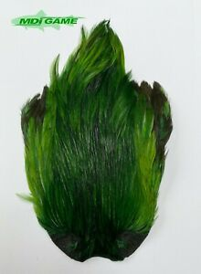MDI Game Fishing Quality Grade A Dyed Green Indian Cock Cape For Fly Tying K1