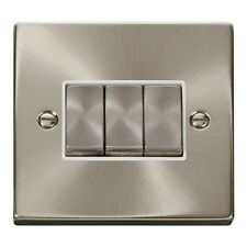 Click Deco 3 Gang 2 Way Plate Light Switch in Satin Chrome White Insert