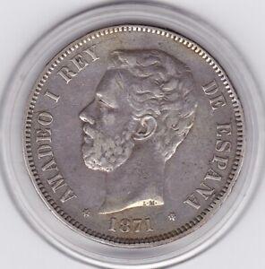 Spain   1871   SD-M   5   Pesetas  Large  Silver  90%   Coin