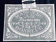 Pochoir Adhésif Réutilisable 30 x 20 cm Médaillon Maison du Bonheur  Stylisé