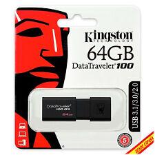 Pendrive Memoria USB 2.0 3.0 3.1 Kingston DT100 G3 64GB Unidad Flash Drive Lapiz