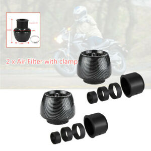 "2*Motorcycle Straight Pipe Air Intake Filter 1.1""-1.9""Inlet Adapter Universal"