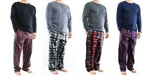 Men's Lounge Pajama Set, 2 Piece Thermal Top with Fleece Pants Sleep Set