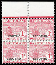 """Basutoland 1966 Postage Due 1c optd """"LESOTHO"""" AT FOOT in block of 4. SG D11 var."""