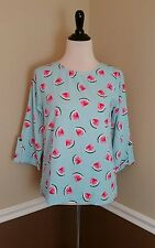 NEW Modcloth Top S Zoom Bisou Blue Watermelon 3/4 Tab Sleeve Fruit Retro Everly