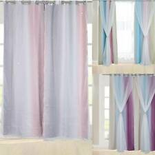 Eyelet Top Color Stars Window Curtain Shade Thermal Insulated Double layer yarn