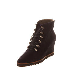 RRP €125 M&P MAYPOL Leather Ankle Boots EU 38 UK 5 US 8 Wedge Heel Round Toe