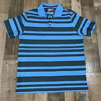 Nike Golf Tour Performance Mens XL Polo Golfing Blue Black Striped Dri-Fit Rugby