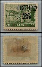 "FIUME - 1919 - 50 cent Posta Fiume SOPRASTAMPA SPOSTATA ""FRANCO 25"" (C81r) - MH"