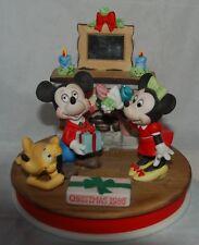 DISNEY Christmas 1986 LE Christmas Porcelain Figurine Mickey Minnie Pluto