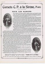 PUBLICITE ADVERTISING 054 1911 Corsets C.P. à la Sirène pour les Mamans