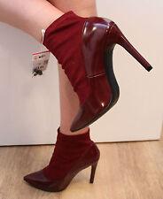Zara rouge vin polonais en cuir & élastique talon haut bottines femmes uk 6 eu 39