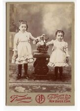 YOUNG SISTERS IN MATCHING OUTFITS BY FREEMAN, NEW HAVEN, CONN., CABINET PHOTO