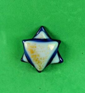 Jewelry Tone White Star of David Fussed Glass Cabochon NO HOLE  Handmade
