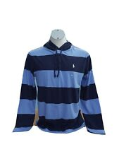 Ralph Lauren Blue multi stripe hoodie Tee top NWT Size Large 46' logo POLO