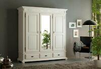 Kleiderschrank Massivholz Fichte Weiß Antik Dielenschrank Garderobenschrank Holz