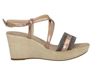 Sandali scarpe da donna con zeppa comoda Nero Giardini E012380D estivi plateau