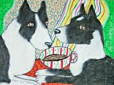 Karelian Bear Dog drinking Coffee 11 x 14 Art Print Collectible Signed by Artist