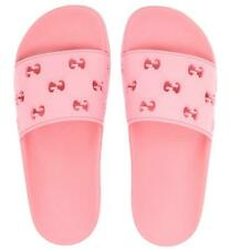 NEW GUCCI GG PINK RUBBER SLIDE BEACH SANDALS SHOES 40/US 10 RFID AUTHENT CODE