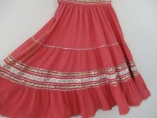 Women's Vintage skirt Pink Coral Southwest Navajo full S As Is Native American