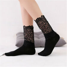 Trendy Women Girls Ladies Hipster Lovely Soft Long Socks Lace Floral Black Mesh