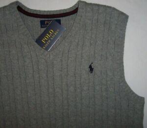 NWT Polo Ralph Lauren GRAY CABLE Cotton Sweater Vest Boys L 14/16 NAVY BLUE PONY