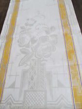 schönes altes Leinen Damast Geschirrtuch Handtuch Tischläufer Art Deco (19)