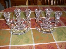 2 Beautiful Vintage Crystal Glass Triple Candle Holder Candlebra