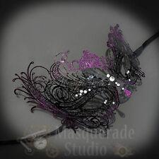 Womens Beautiful Swan Filigree Venetian Black Masquerade Mask [Purple Glitter]