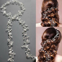 BD_Women 50cm pearl rhinestone headbands wedding hair vine bridal accessories
