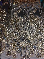 Luxurious Sequins Feather Peacock Design Mesh Lace Fabric Navy. Sold By Yard