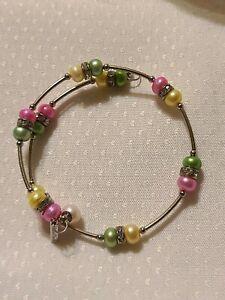 New Vantel Pearls Silver Tone Bracelet Pink & Green Pearls with Rhinestones