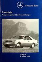 Mercedes 500 E W124 SL R129 W140 Preisliste & Extras - 02.01.1993