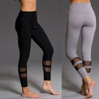 Women High Waist Yoga Pants Push Up Leggings Mesh Exercise Workout Trousers
