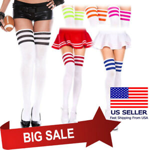 White Acrylic Knit Thigh High Leg Warmers Long Boot Socks Color Stripes Costume