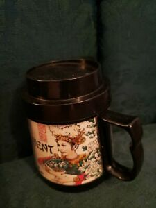 Vintage Japanese Garden Mug With Push Button Flip Lid 16 Oz Orient Thermo-Serv