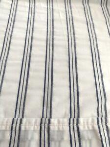 Ralph Lauren Blue White Ticking Stripe King Flat Sheet Black Label