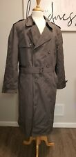 London Fog Men's Grey Vintage Lined Long Rain Trench Coat Size 44 Long