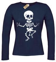 Rude Skeleton T-Shirt Funny womens long sleeve bones joke tee ladies top