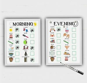 Childrens Morning and Evening Routine, Kids Reward Chart, Autism, ADHD, 2 frames