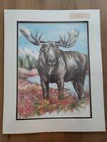 Signed Doug Lindstrand Alaskan Moose Print Alaskan Sketches Limited Ed 1985