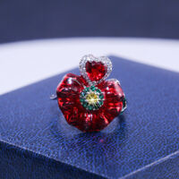 925 Silver Ruby Flower Ring Women Engagement Wedding Jewelry Gift Size 8-10