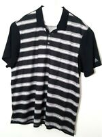 Adidas Climacool Mens SIZE 2XL Black Gray Striped Short Sleeve Golf Polo Shirt