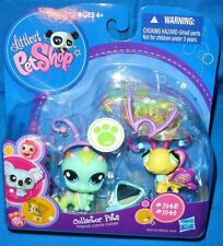 old LPS toy littlest pet shop INCHWORM #1945 BUTTERFLY #1946 with Accessories
