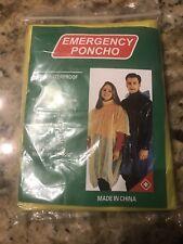 "NEW Hooded Poncho Emergency Rain Gear  Unisex One Size Fits All 50"" x 80"""