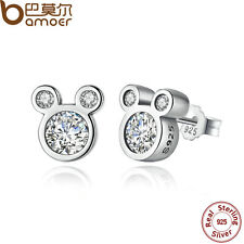 Bamoer Solid S925 Sterling Silver Stud Earrings With Mouse Amazing For Women