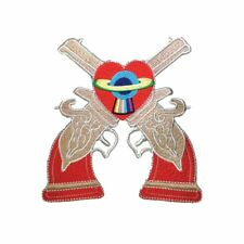 2 Guns Heart Planet (Iron On) Embroidery Applique Patch Sew Iron Badge