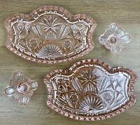 Art Deco Pink Glass Vanity Tray Vintage Dressing Jewellery Dish Ring Pair