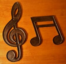 Cast Iron Treble Clef & Double Note Wall Sculpture Sign Musical Music Room Decor