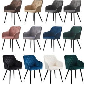 2x Esszimmerstühle Sessel PU / Samt Küche Esszimmer Restaurant Büro Metallbeine